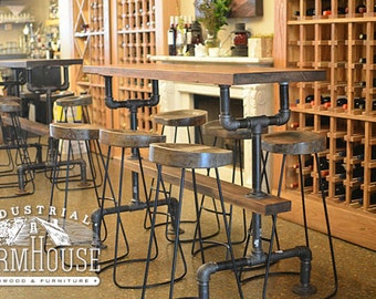 Bar height table etsy restaurant table industrial farmhouse bar height kitchen table workwithnaturefo