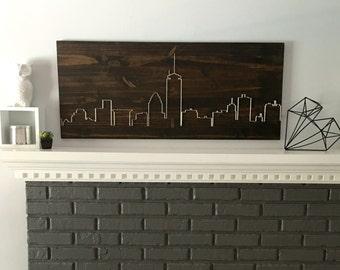Boston skyline, living room wall art, dining room wall art, bedroom wall art, modern minimalist wall art, housewarming, gift, wood wall art