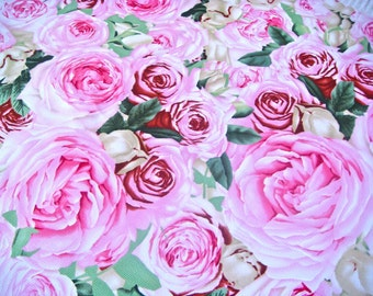 Roses in Pink Heavy Cotton Duck Fabric Remnant 19 x 22 Inches