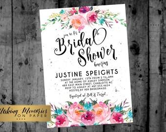 Bright Pink Bridal Shower Invitation, Watercolor Flowers Invitation, Floral Invitation, Shower Invitation, DIY, Floral Invite, Flower Invite