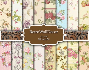 Floral Digital Paper Shabby Chic Papers Floral Pattern  Floral Decoupage Papers Vintage  Fruits Backgrounds Paper 12x12 Buy 2 Get 1 FREE