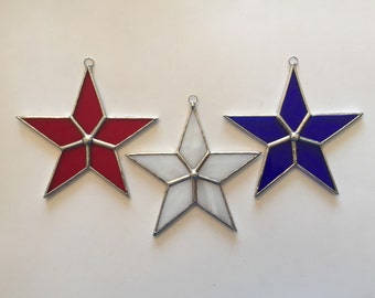Handmade Stained Glass Patriotic Stars (Set of 3)