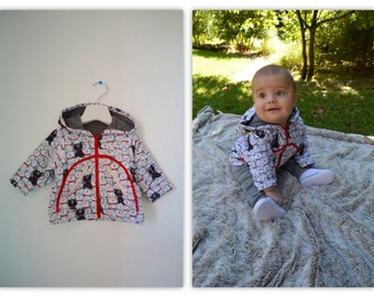 Baby jacket with cats 3-6 month