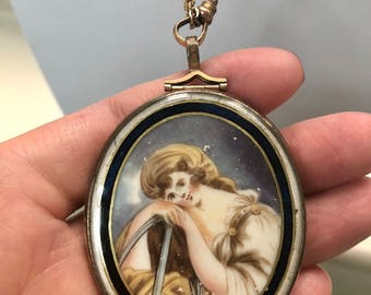 Large antique Georgian portrait miniature under glass locket necklace with old box, Mourning, Sentimental, Memento Mori, Jewelry, Love Token