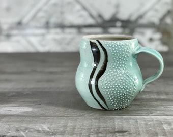 Curvy mug: aqua mug porcelain mug handmade mug curvy lines and dotted texture fidget mug tactile mug aquamarine mug coffee cup tea cup comfy