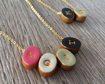 Mothers Day Letter Necklace   - Simple modern color jewelry - Custom Initial - Bridesmaids 2018, Initials Necklace, Mom, Nana, Grandma, Aunt