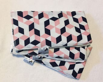 Set of 3 Geometric Burp Cloths