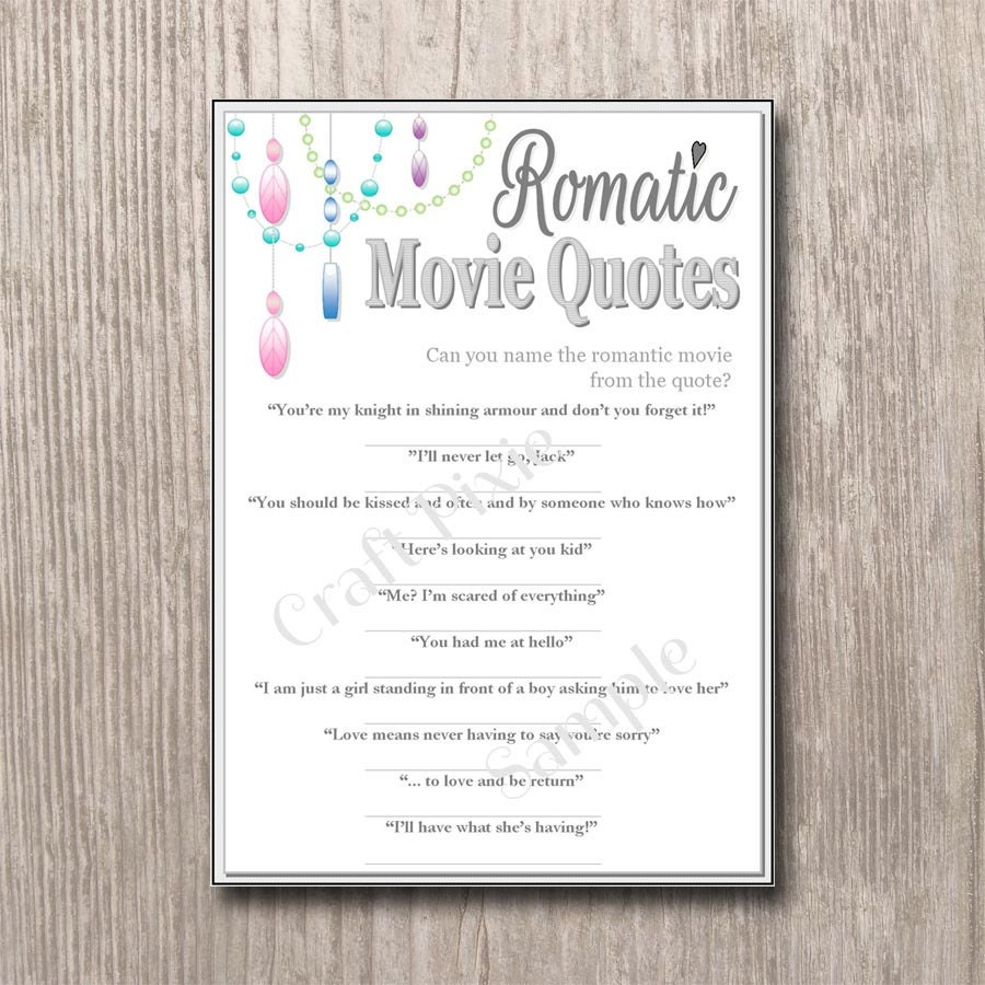 Quotes Quiz Romantic Movie Quotes Quiz Chandelier Instant Pdf Download
