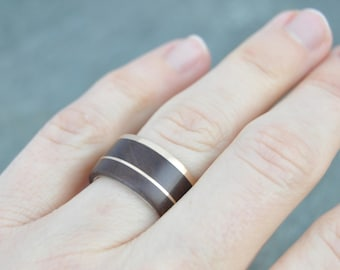 Size 5.5, width 10mm Wide Gold and Silver Un Lado Asi Wood Ring READY TO SHIP 14k recycled gold wood wedding band, mens wood wedding ring