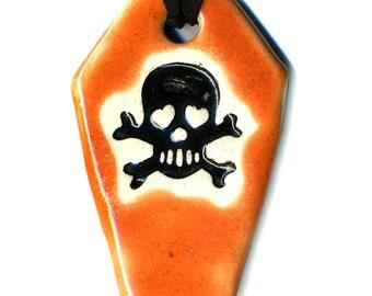 Coffin with Skull Ceramic Necklace in Orange