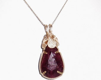CERTIFIED 64 ct Pear cut Natural Earth Mined Red Ruby, 14kt yellow gold Pendant and Chain