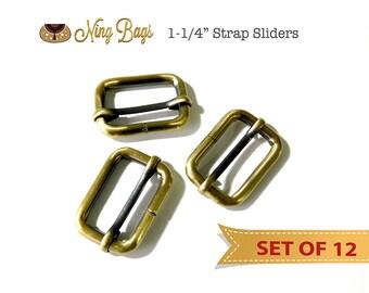 """SALE! Set of 12 // 1-1/4"""" Strap Adjusters, Strap Adjustable Sliders in Brushed Antique Brass"""