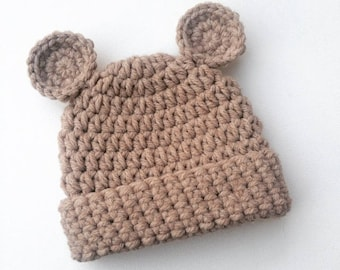 Baby bear hat, crochet baby hat, crochet bear hat, crochet toddler hat, novelty child hat, animal hat, knitted bear hat, new baby gift