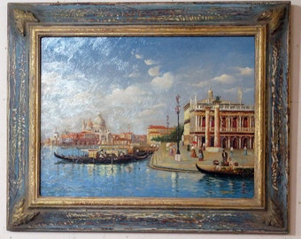 Venice painting with blue and gold frame
