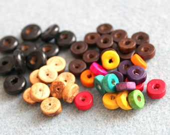 SET of beads: wood slices to choose color