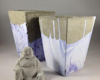 Purple Marbled Concrete Planter, Succulent Planter, Cement Planter