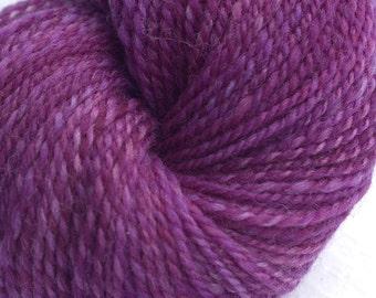 Handspun Yarn, Falkland Wool, DK weight, Indie Dyed in Magenta