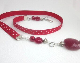 Red and White Polka Dots Front Closure Ribbon Necklace, For People With Carpal Tunnel or Arthritis, Minnie Mouse Inspired, Lollipop Red
