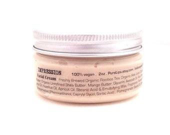 Hibiscus Pomegranate Face Cream. Vegan Facial Moisturizer. Unscented. All Natural