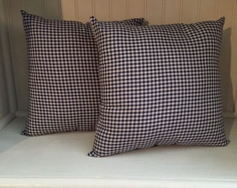 Set of 2 Blue Check Pillows