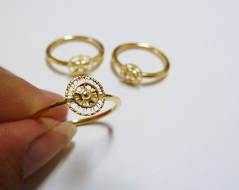 Minimalist gold ring, Handmade Unique bicycle elements Ring, made of 14k Goldfield metal, Fashion Jewelry, Unique Jewelry, Gift for her