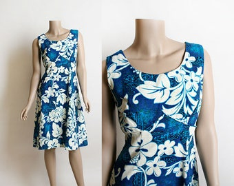 Vintage Hawaiian Dress - 1960s Royal Hawaiian Blue and White Floral Print Summer Vacation Dress - Small Medium