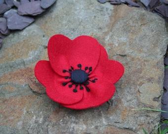 Poppy  Brooch , Poppy Pin, Flower Brooch