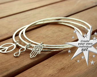 Silver charm bracelet | silver charm bangle | silver bangle | bangle bracelet | stacking bangle | bangle set | 2mm | made to order