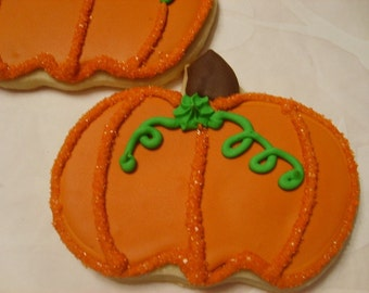 Large Pumpkin shaped Sugar Cookies