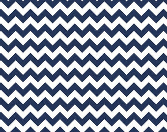 Navy Blue Chevron Fabric - Cotton Chevron by Riley Blake Basics Fabric by the Yard - Quilt Fabric - Navy Blue Fabric - Printed Fabric