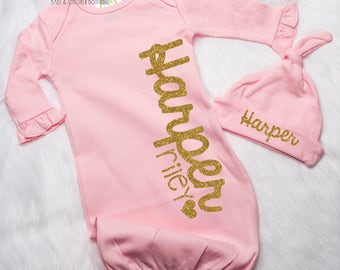 Personalized Newborn Girl Name Gown, Newborn Girl Pink Gold Take Home Outfit, Infant Girl Clothing, Hospital Baby Gown, Baby Girl Gown P23