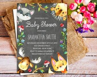 woodland baby shower invitation girl, Gender Neutral Woodland invitation, FOX chalkboard woodland invitation, deer invite, greenery invite
