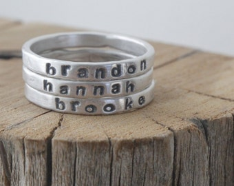 personalized stackable mothers ring, 2mm fine silver, gift for her, stacking rings, name ring, mothers day gift, personalized rings mom gift