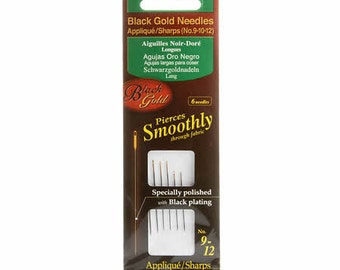 Black Gold Needles - 3 size (9, 10, 12) - qty 6 in pack #4973 - Clover - Sharp Tip Applique
