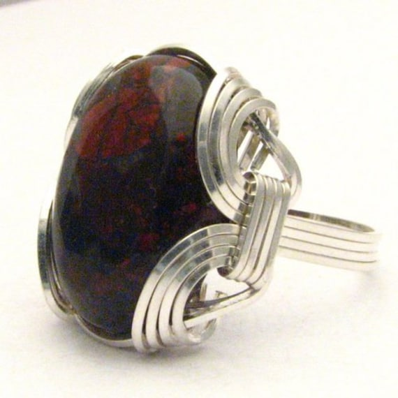 Handmade Sterling Silver Wire Wrap Poppy Jasper Ring