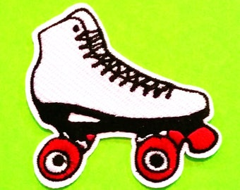 Roller Skates Derby Girl Classic White or Retro Pink Rainbow Fully Embroidered Iron or Sew On Patch - More Styles