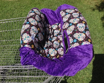 Shopping Cart Cover- Purple and Flower Skulls