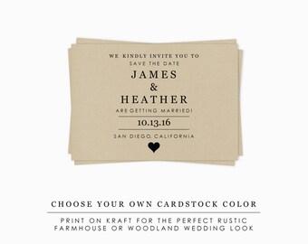 Rustic Wedding Kraft Save the Date Printable Template, Minimalist DIY Wedding Save the Date Postcard, Instant Download Wedding Printable