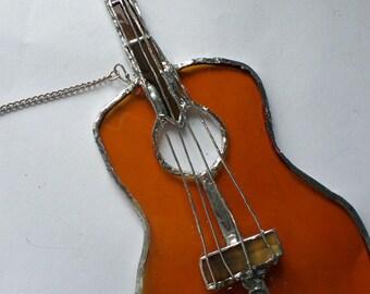 Guitar, stained glass,  suncatcher wall art , musical instrument,  gift ideas