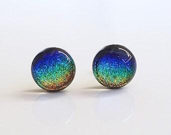 Rainbow Fused Glass Stud Earrings - Blue Green Gold Glass Earrings - Rainbow Earrings for Women - Rainbow  Dichroic Glass Studs - ES 680