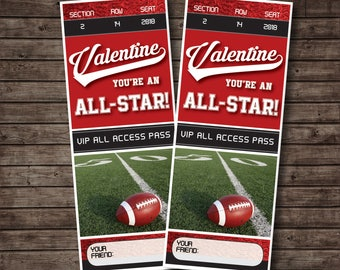 Football Valentines, Class Valentines, Kids' Valentines, Sports Valentine Cards