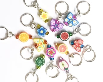 Flower, Fruit, & Butterfly Stitch Markers Stitch Markers YOU CHOOSE a set of 6. Colorful Rainbow Stitch Markers. Clay Bead Stitch Markers