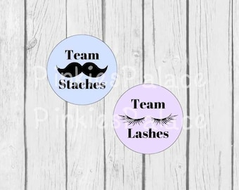 Gender Reveal Stickers Baby Boy Baby Girl Team Lashes Team Staches Gender Party Blue Lavender - Set of 24