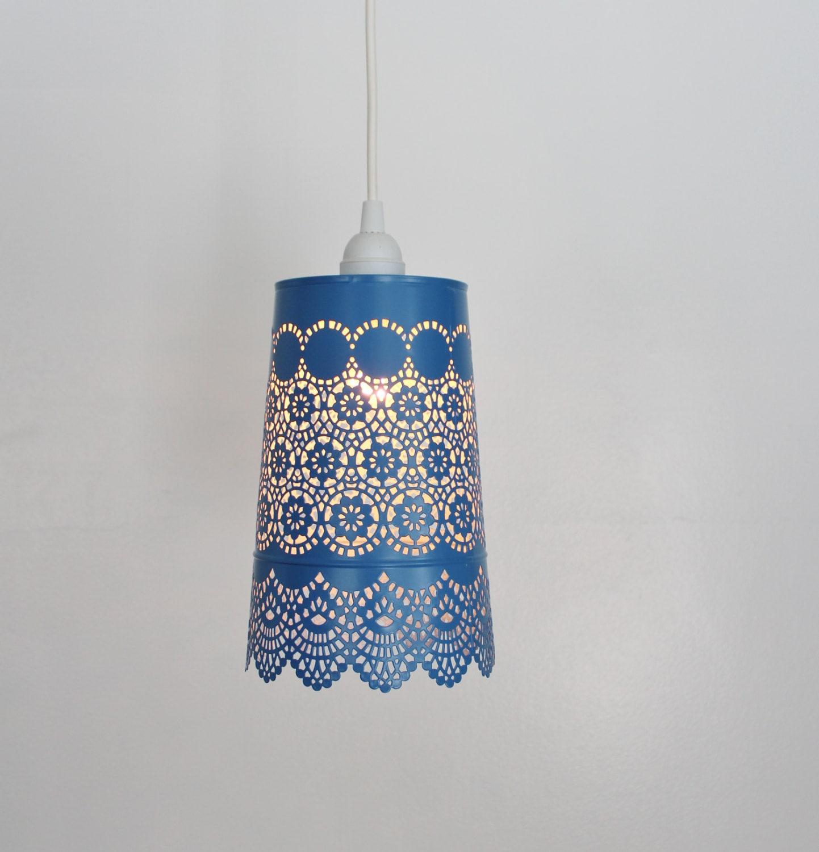 Denim BLUE Lace Pendant Lamp UpCycled Hanging Lighting