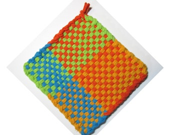 Fun Orange, Teal, Lime Green Hand Woven Large Cotton Potholder No.17