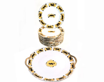 French Limoges Dessert Set 11 Plates 1 Large Eared Platter Black & Gold Cat Service, Sandwich Plate Tea Time Set