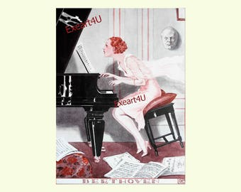Georges Leonnec Beethoven Art Deco Musical Music Classic Piano Pianist Fashion Music Humour Fine Art Illustration Picture Print