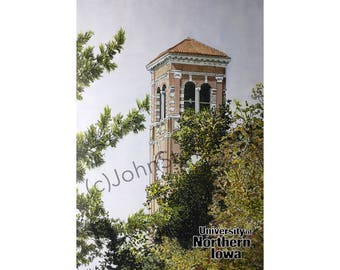 University of Northern Iowa LIMITED EDITION Pen and Ink and Watercolor Art Print Illustration by John Stoeckley