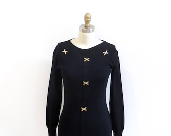 1980s Vintage Claude Montana Cotton Jersey Pullover / Black Top with Gold Metal Appliques