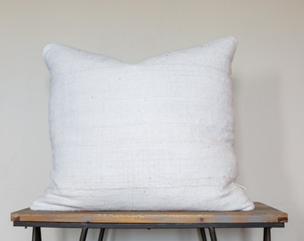 "Authenic White African Mud Cloth Pillow (18"", 22"", 24"" or Lumbar) // Hand woven from Mali, Africa"